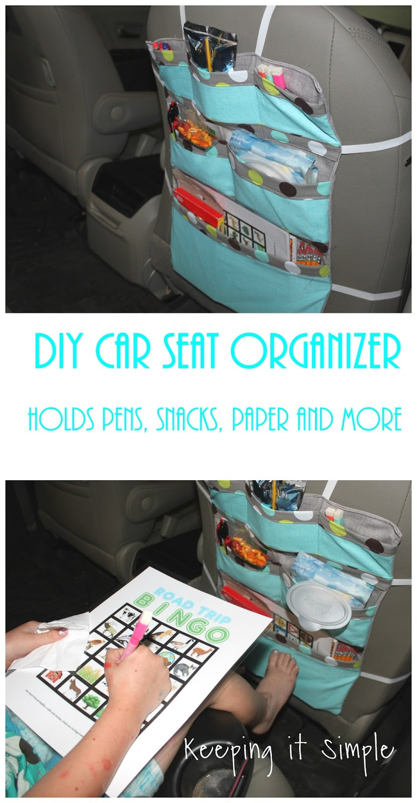 DIY Car Organizer  Keeping it Simple DIY Car Seat Organizer Perfect for