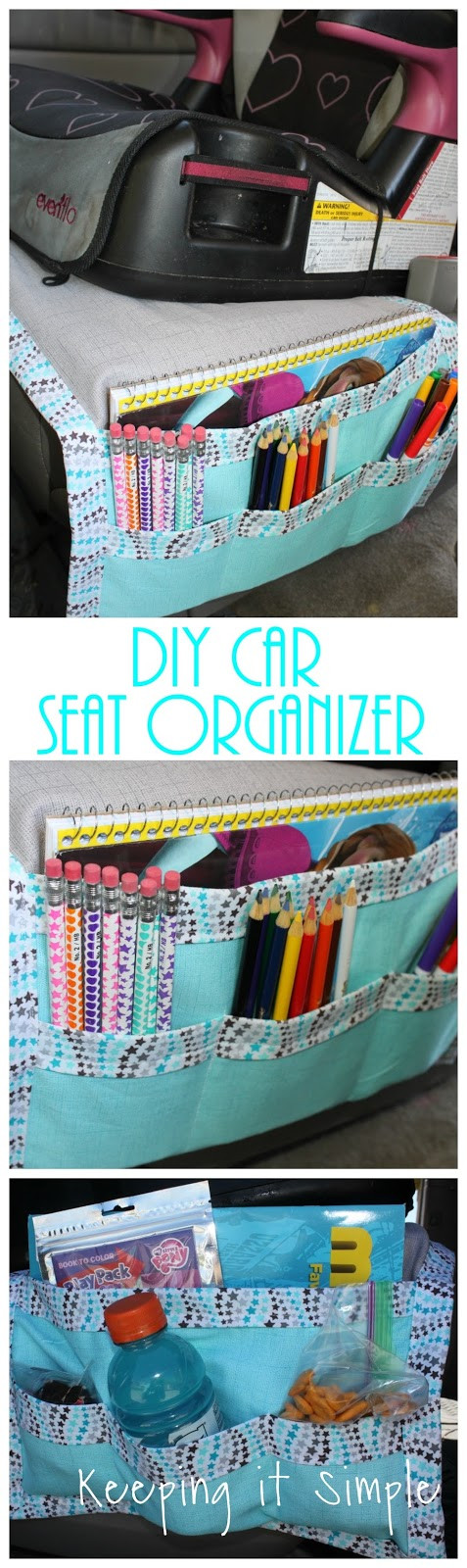 DIY Car Organizer  DIY Car Seat Organizer for Kids Snacks and Coloring