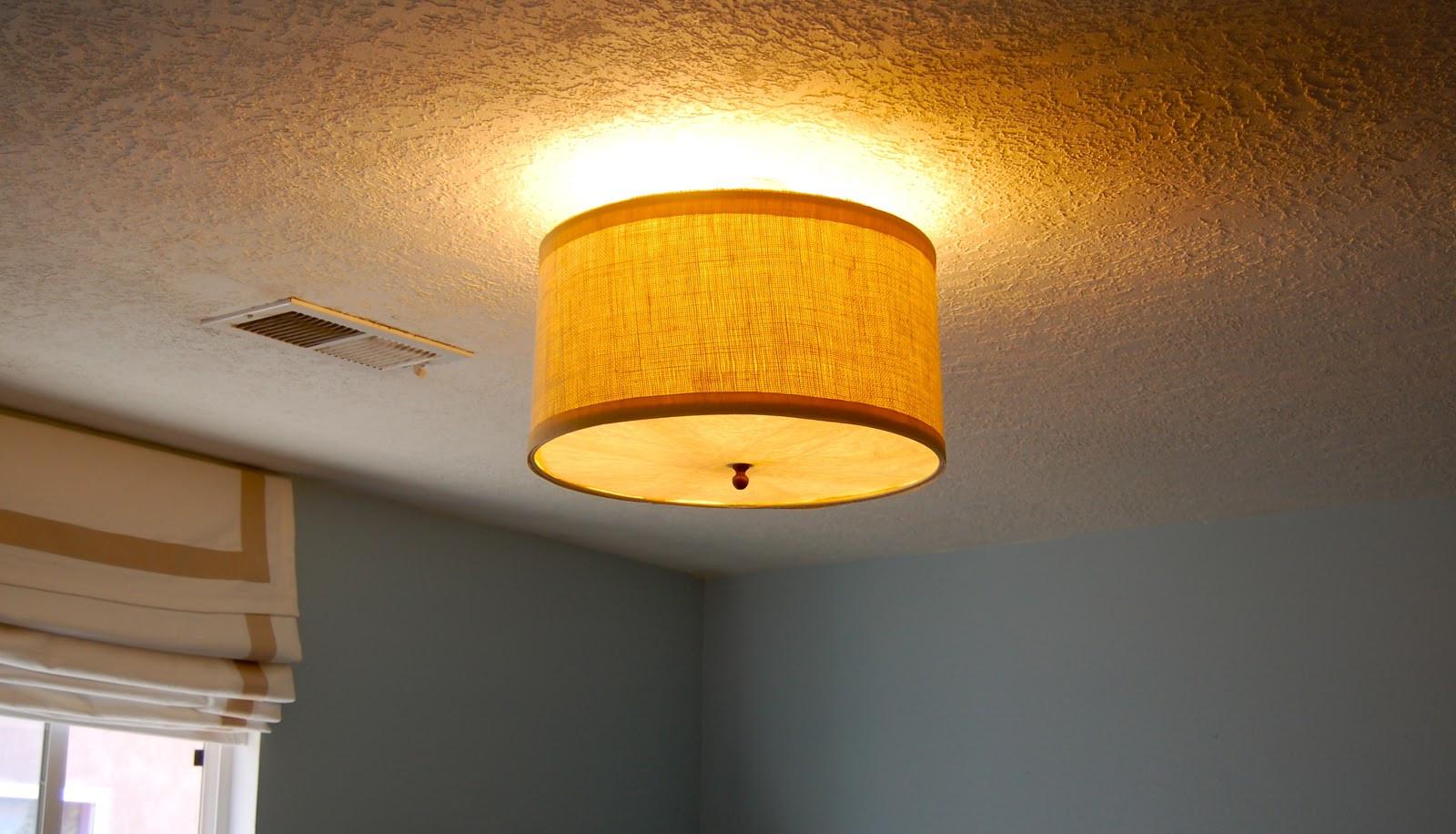 DIY Ceiling Light Cover  Diy Drum Shade Ceiling Light Cover