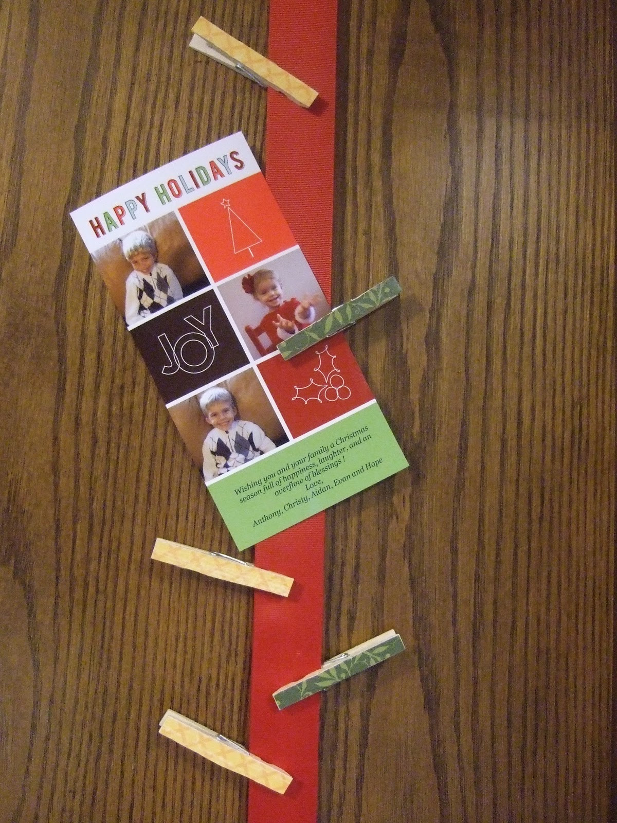 DIY Christmas Card Holders  A Little Bit of Everything DIY Ribbon Christmas card holder