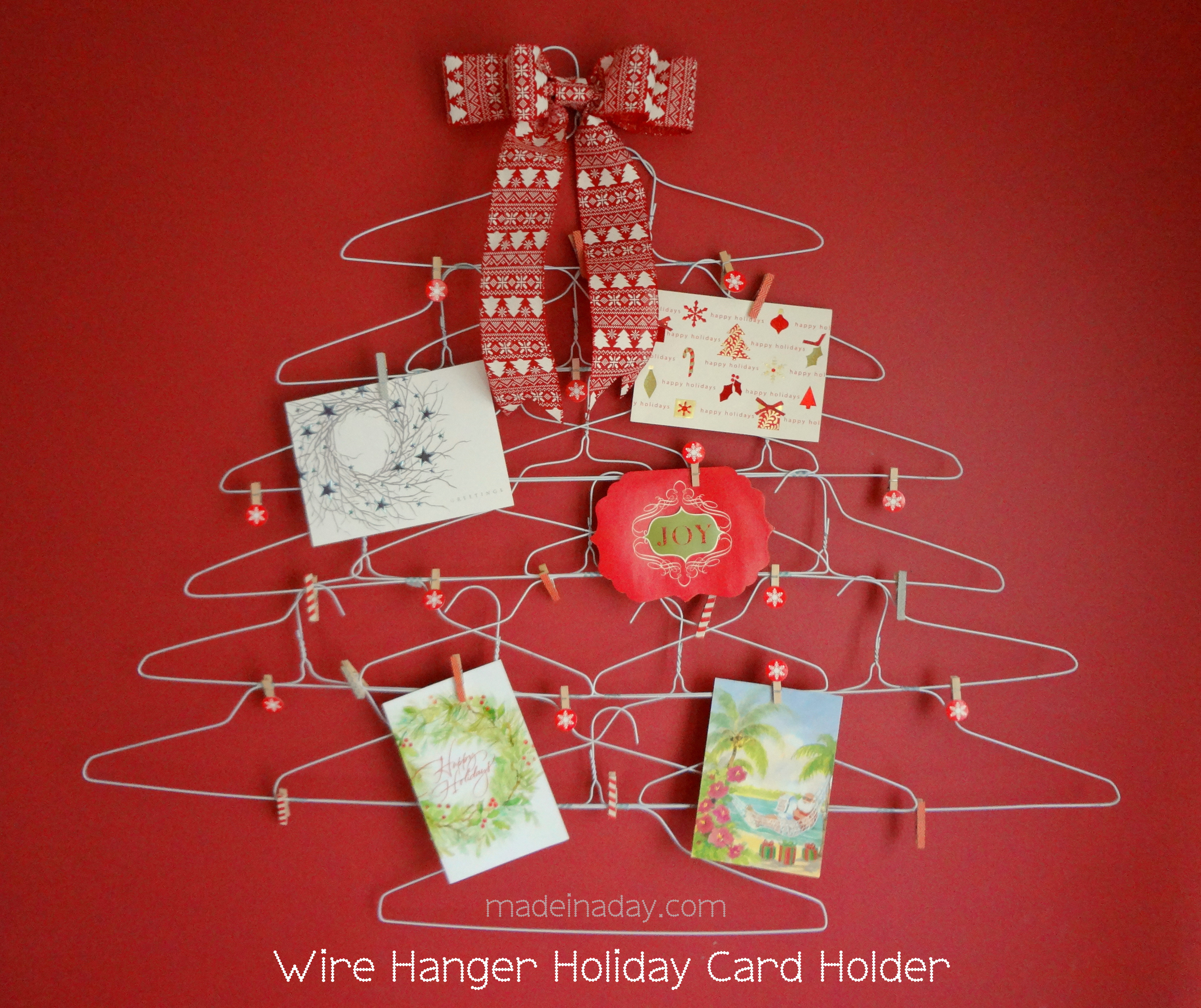 DIY Christmas Card Holders  Quirky Wire Hanger Holiday Card Holder