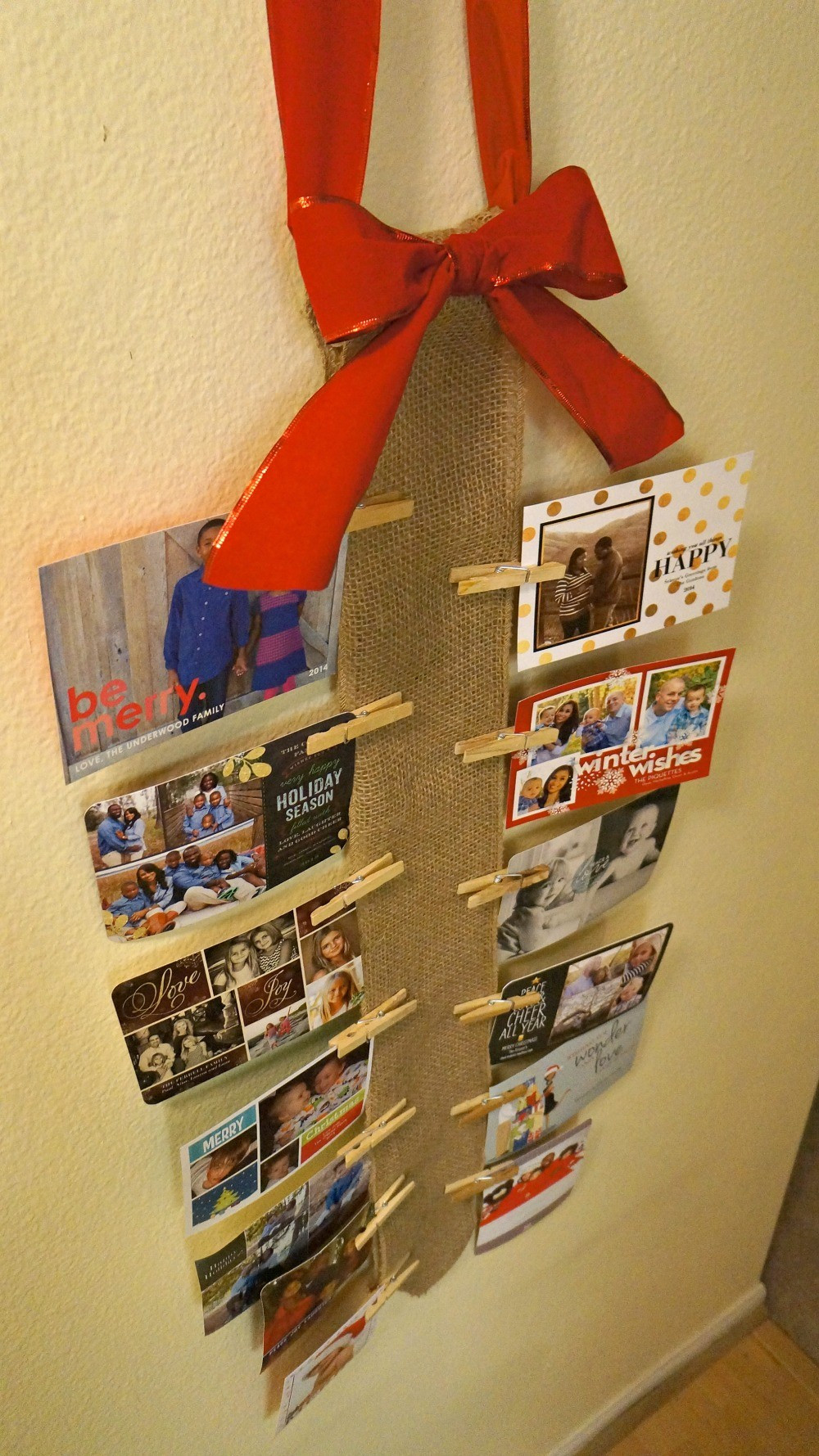 DIY Christmas Card Holders  How To Display Your Holiday Cards DIY Burlap Wall