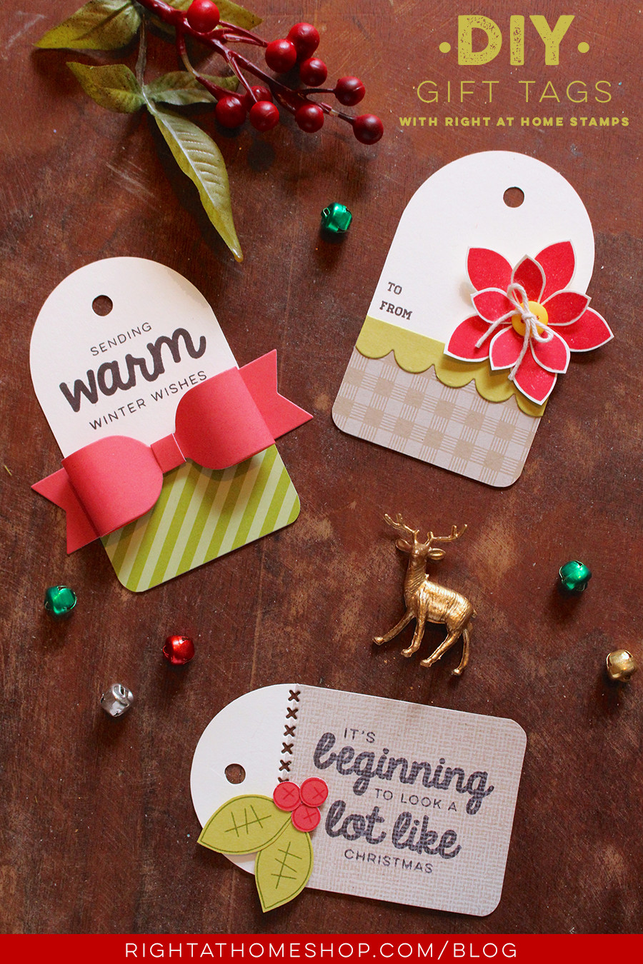 Best ideas about DIY Christmas Gift Tags . Save or Pin DIY Gift Tags Using Right at Home Holiday Stamps — Right Now.