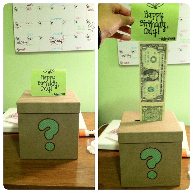 Best ideas about DIY Christmas Gifts For Brothers . Save or Pin A t for my boyfriend s brother A box with dollar bills Now.