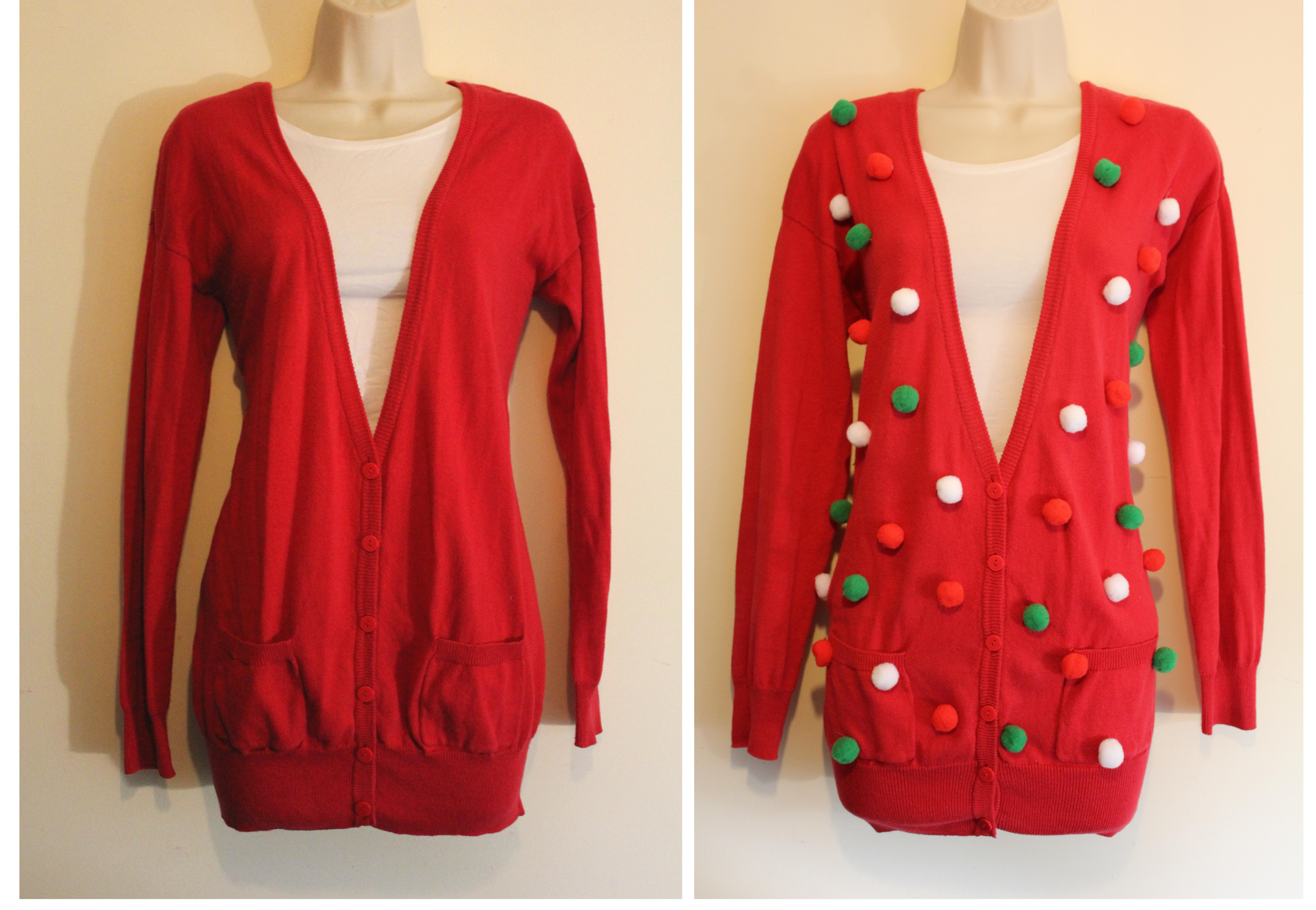 Best ideas about DIY Christmas Jumper . Save or Pin christmas jumper DIY pompoms before and after Now.