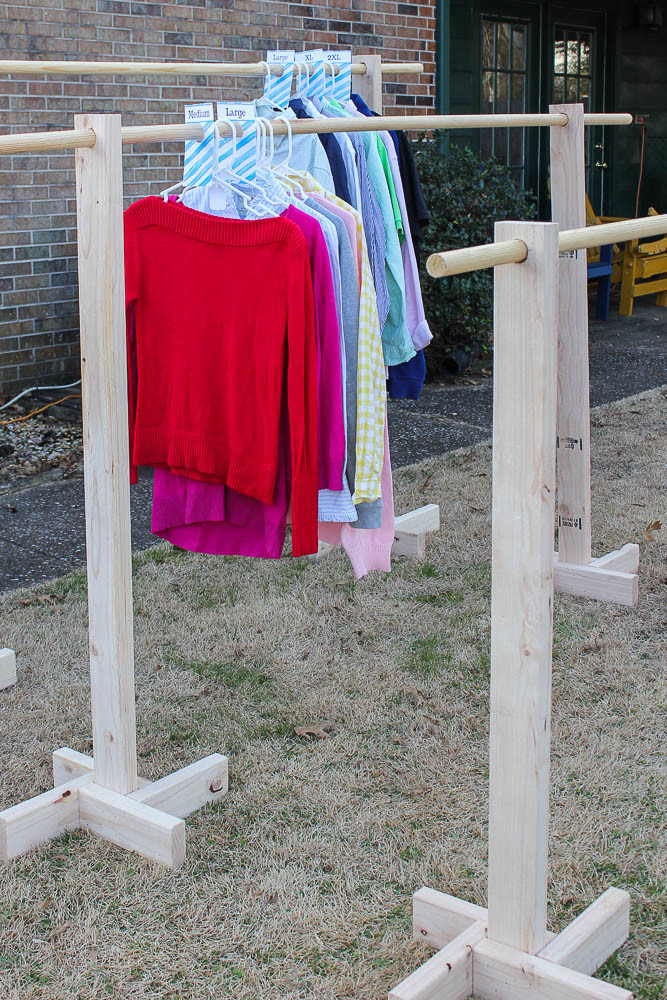 DIY Clothes Rack Garage Sale  DIY Clothes Rack and Free Printable Size Dividers for Yard