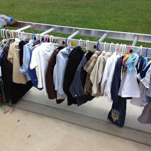 DIY Clothes Rack Garage Sale  Great idea for displaying clothes at a garage sale Turn a