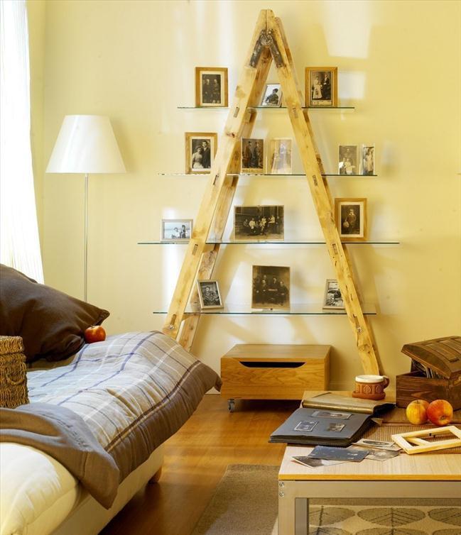 DIY Decor Ideas For Living Room  diy ladder family photos shelf ideas living room glass panel