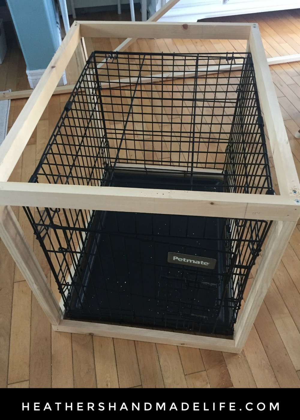 DIY Dog Crate  diy dog crate cover table 2 Heather s Handmade Life