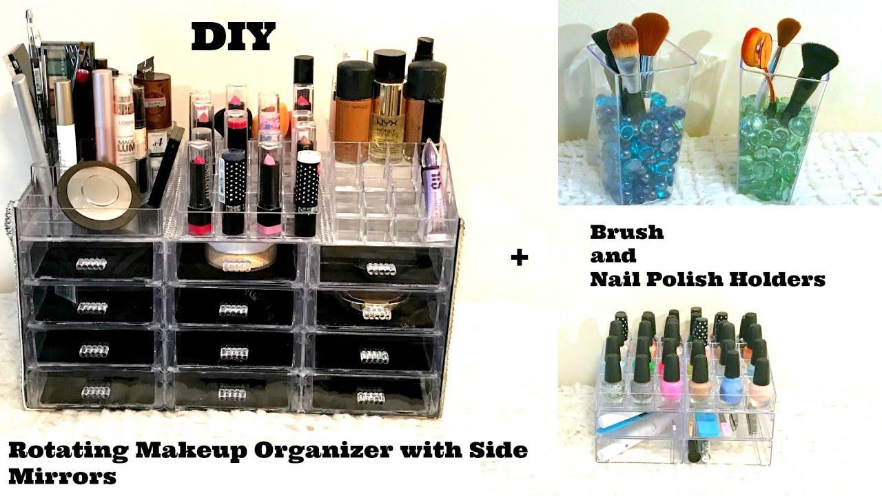 DIY Dollar Tree Makeup Organizer  DIY $1 Nail Polish & Makeup Organizers with side Mirror