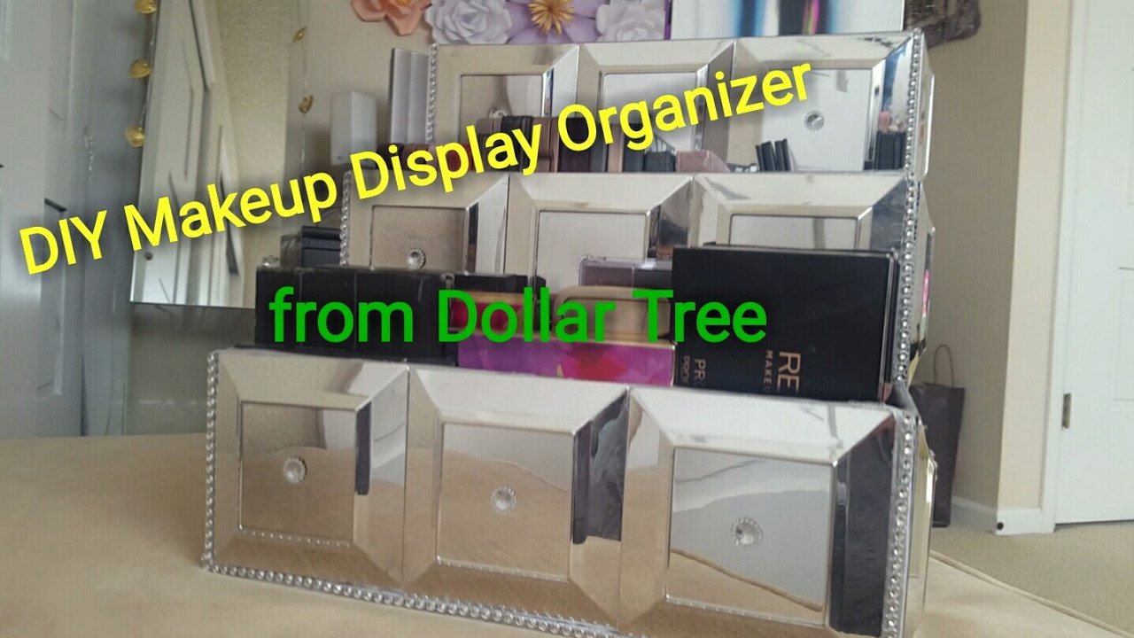 DIY Dollar Tree Makeup Organizer  Dollar Tree DIY Glamourous Makeup Display Organizer