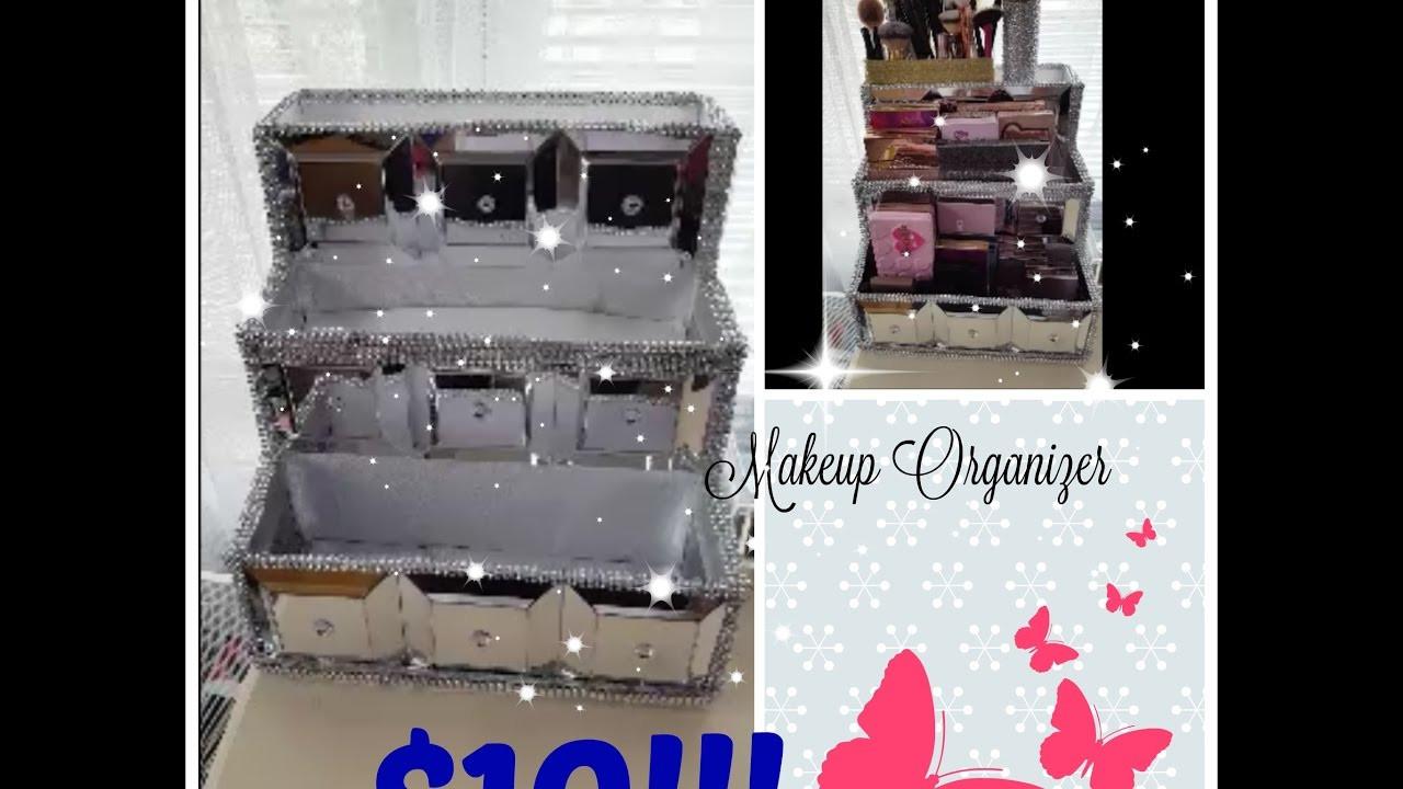 DIY Dollar Tree Makeup Organizer  Dollar Tree DIY Makeup Organizer Storage
