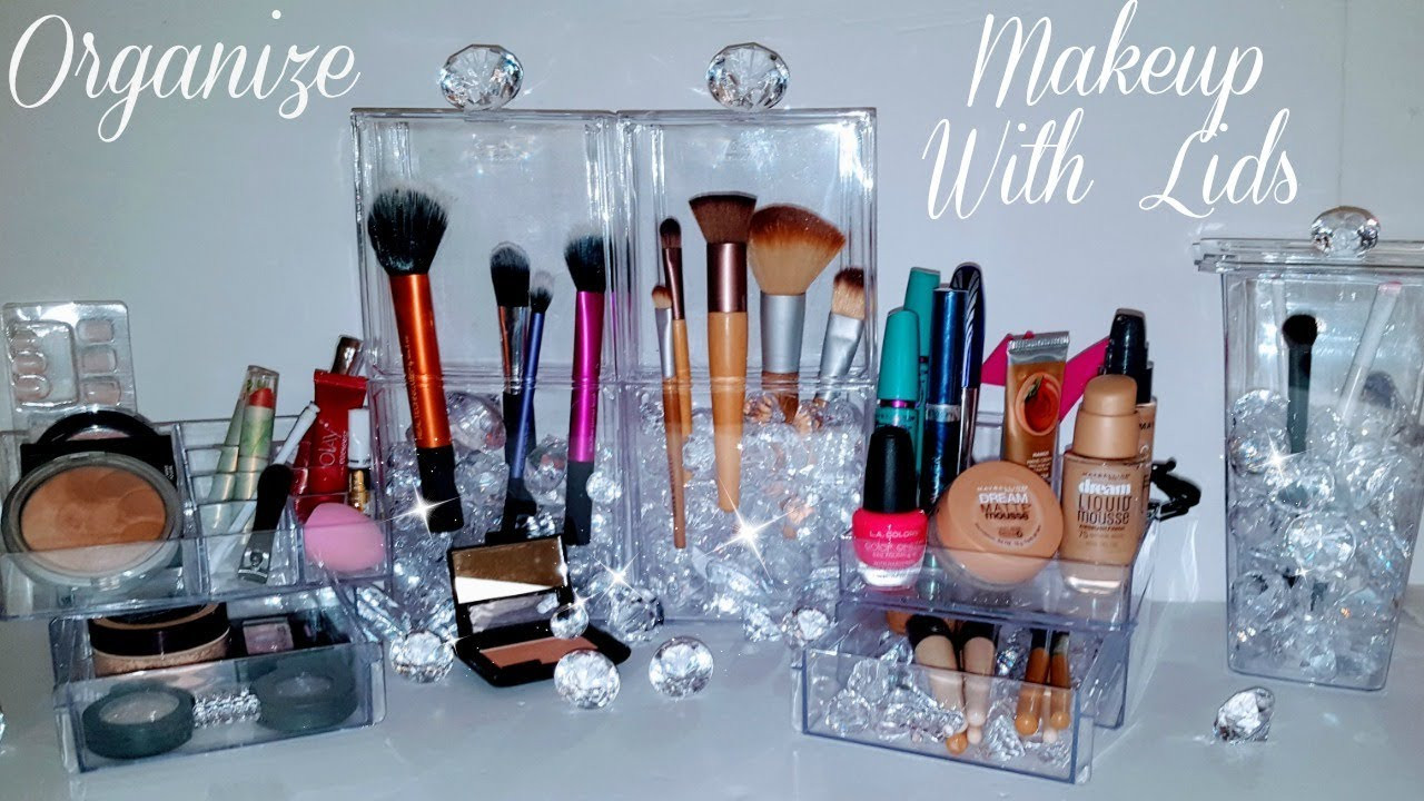 "DIY Dollar Tree Makeup Organizer  DIY Makeup Organizer ""BRUSH"" Storage LIDS using Dollar"