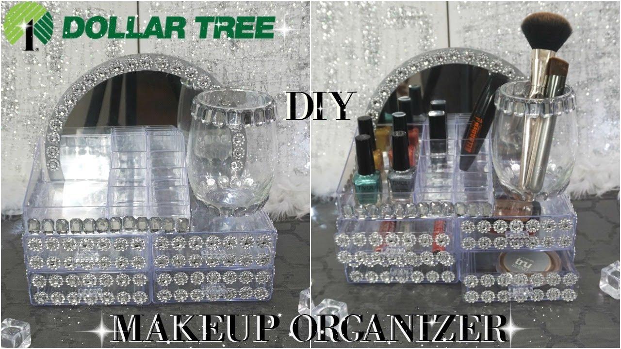 DIY Dollar Tree Makeup Organizer  DOLLAR TREE DIY GLAM MIRROR MAKEUP ORGANIZER TUTORIAL