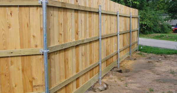 DIY Fence Building  Wood Fence With Metal Post Building Construction DIY