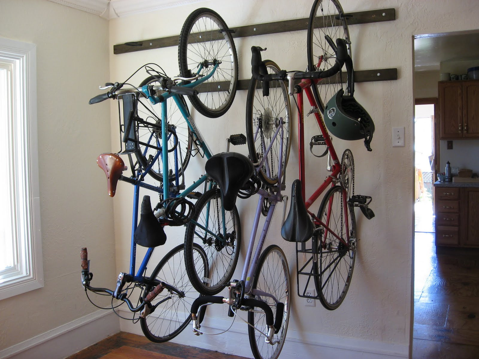 Best ideas about DIY Hanging Bike Rack . Save or Pin Girl on Bike Post 100 My Brand New Homemade Wall Now.