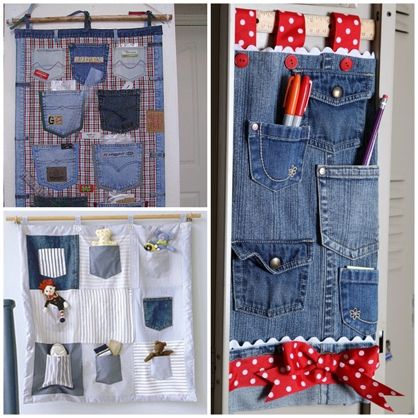 DIY Hanging Organizer  Wonderful DIY Hanging Jeans Pocket Organizer