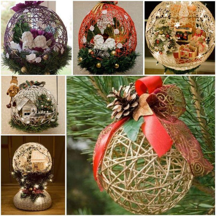 DIY Huge Ball Christmas Ornaments  Wonderful DIY Yarn Ball Ornaments for Christmas