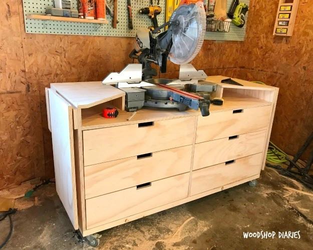 DIY Miter Saw Table  DIY Mobile Miter Saw Stand