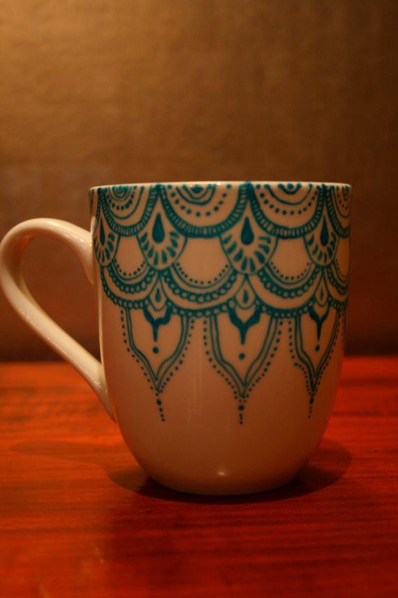 DIY Mug Designs  Items similar to Hand Painted Porcelain Mug with Blue
