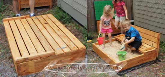 Best ideas about DIY Sandbox With Lid . Save or Pin Simply Easy DIY DIY Covered Sandbox with Shade Canopy Now.