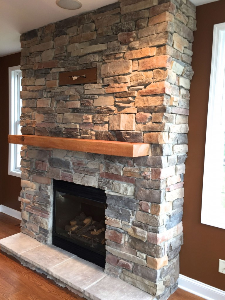 DIY Stone Fireplace  A DIY Stone Veneer Installation Step By Step North Star