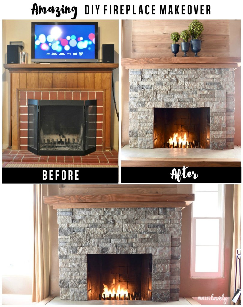 DIY Stone Fireplace  AirStone Fireplace Makeover Make Life Lovely