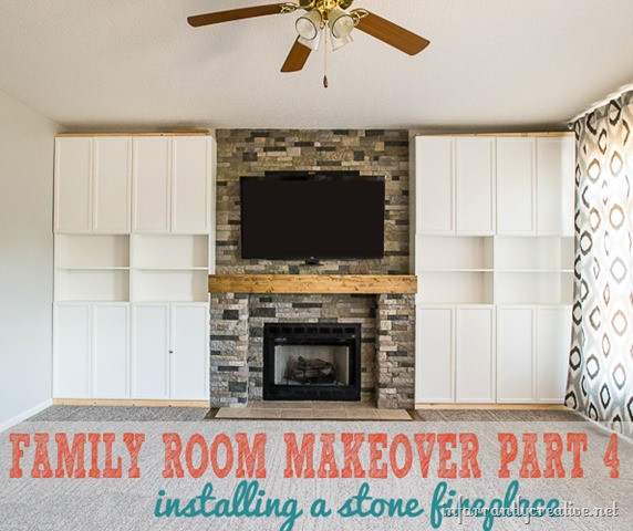 DIY Stone Fireplace  Family Room Makeover Part 4 AirStone Fireplace Makeover