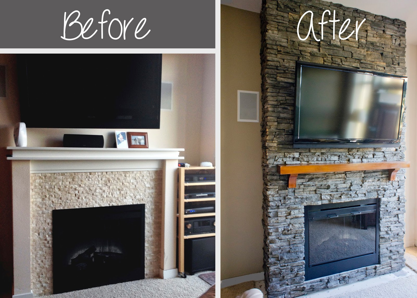 DIY Stone Fireplace  Hirondelle Rustique DIY Stacked Stone Fireplace First