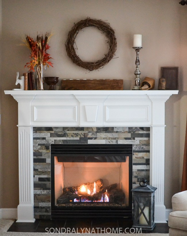 DIY Stone Fireplace  Easy Peel and Stick Stone Fireplace Surround Sondra Lyn