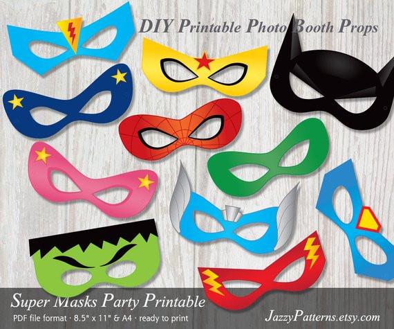 DIY Superhero Mask Template  DIY Superhero printable masks photo booth props in ic book