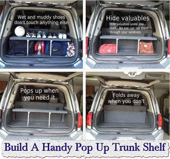 DIY Trunk Organizer  Build A Handy Pop Up Trunk Shelf Build A Handy Pop Up