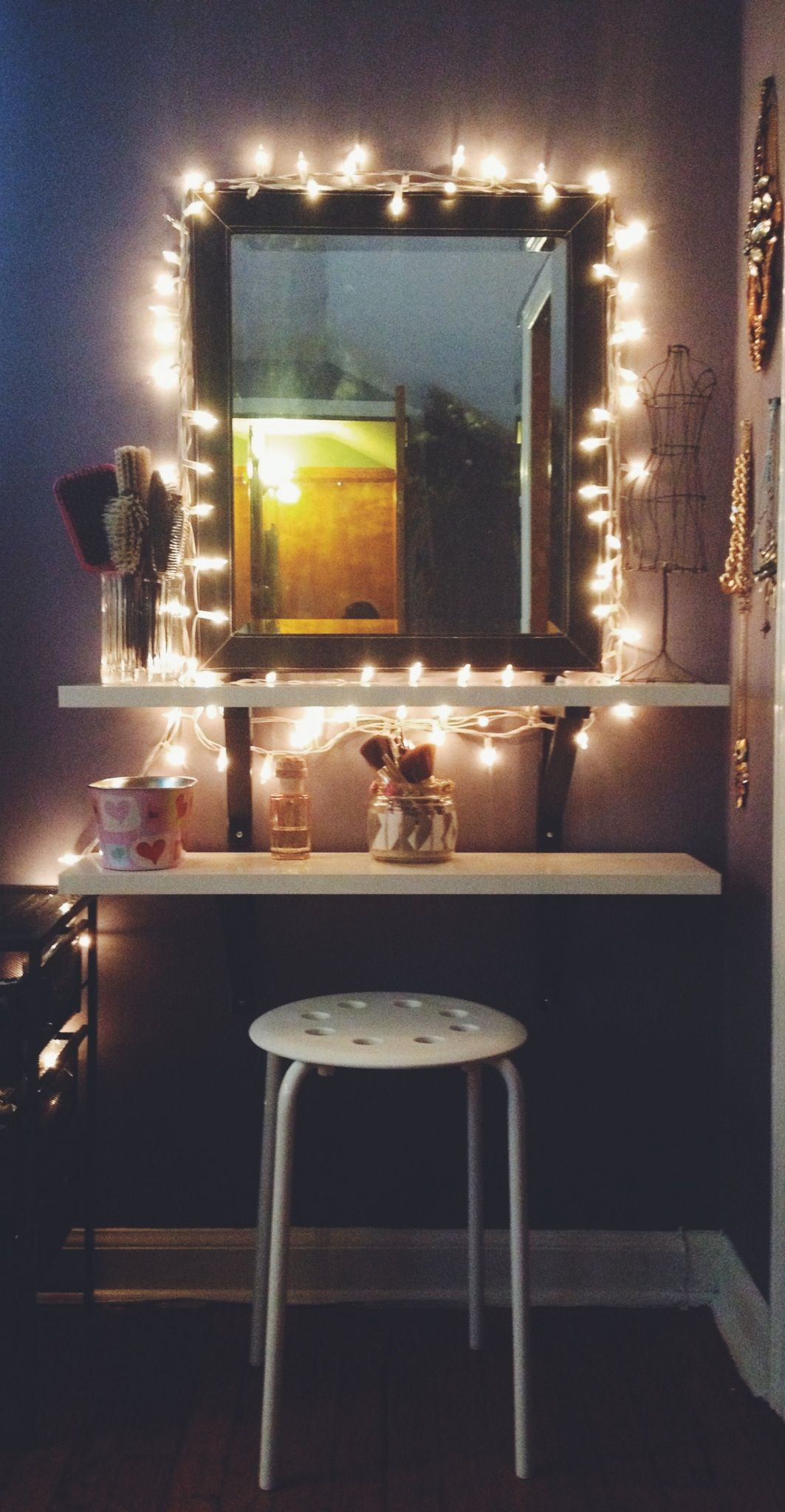 DIY Vanity Lights  DIY Ikea hack vanity put shelves on wall beside mirror