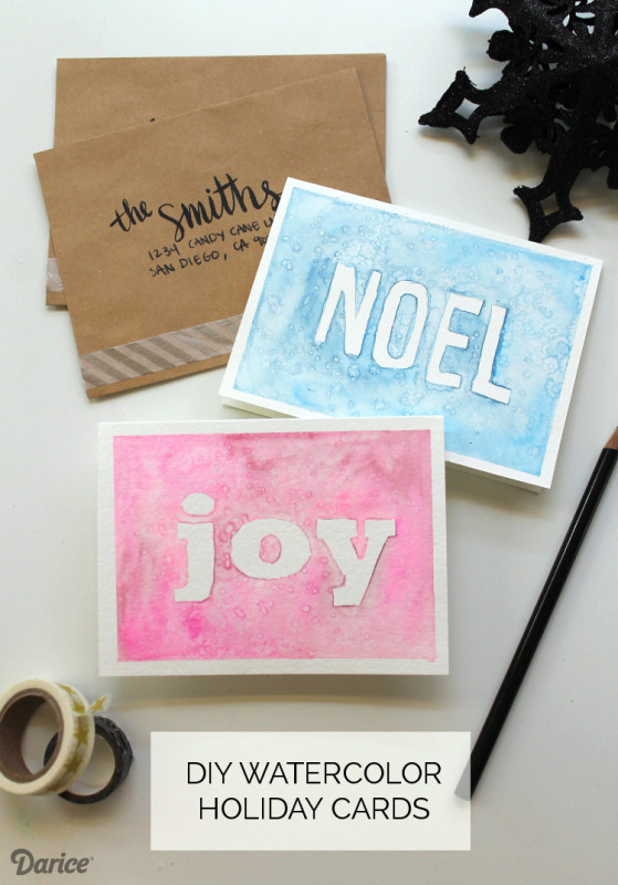 DIY Watercolor Christmas Cards  Homemade Christmas Cards Tutorial Watercolor Darice
