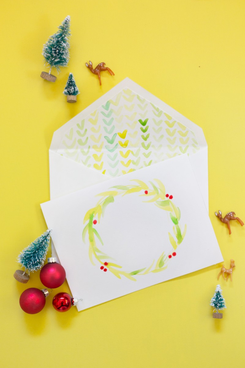 DIY Watercolor Christmas Cards  DIY Watercolor Holiday Cards Envelope Liners Lovely Indeed