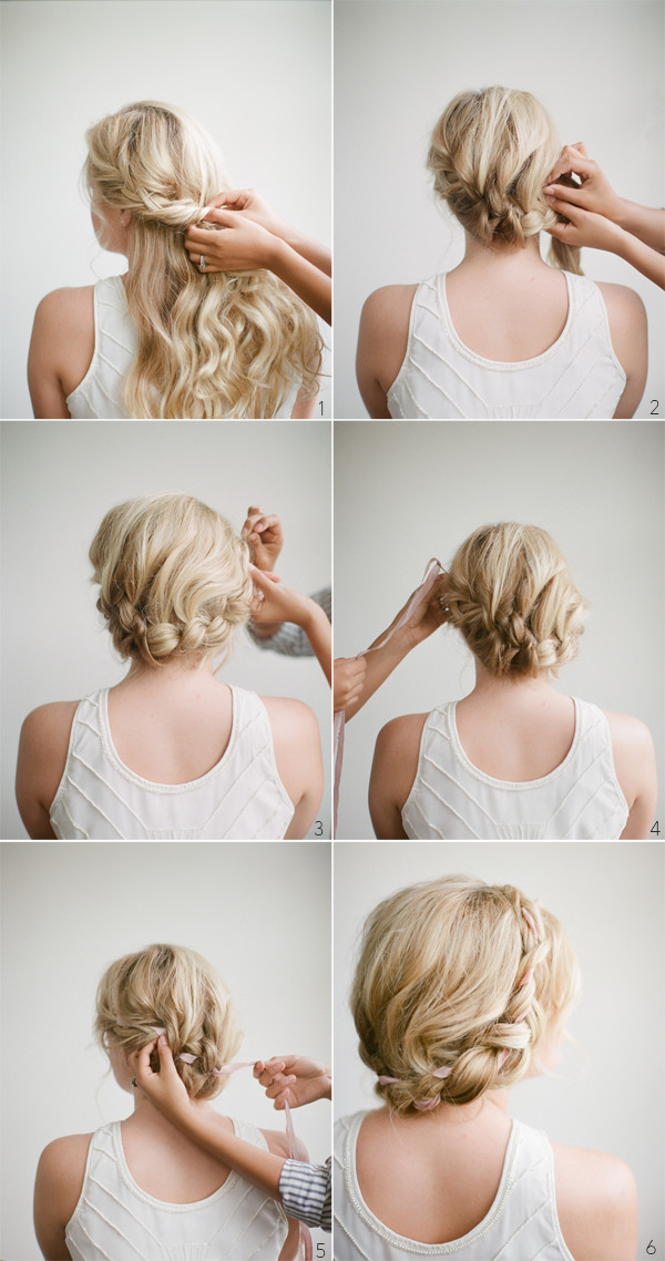 Best ideas about DIY Wedding Hairstyles For Long Hair . Save or Pin DIY Halo Braid Tutorial with Frou Frou Ribbon ce Wed Now.