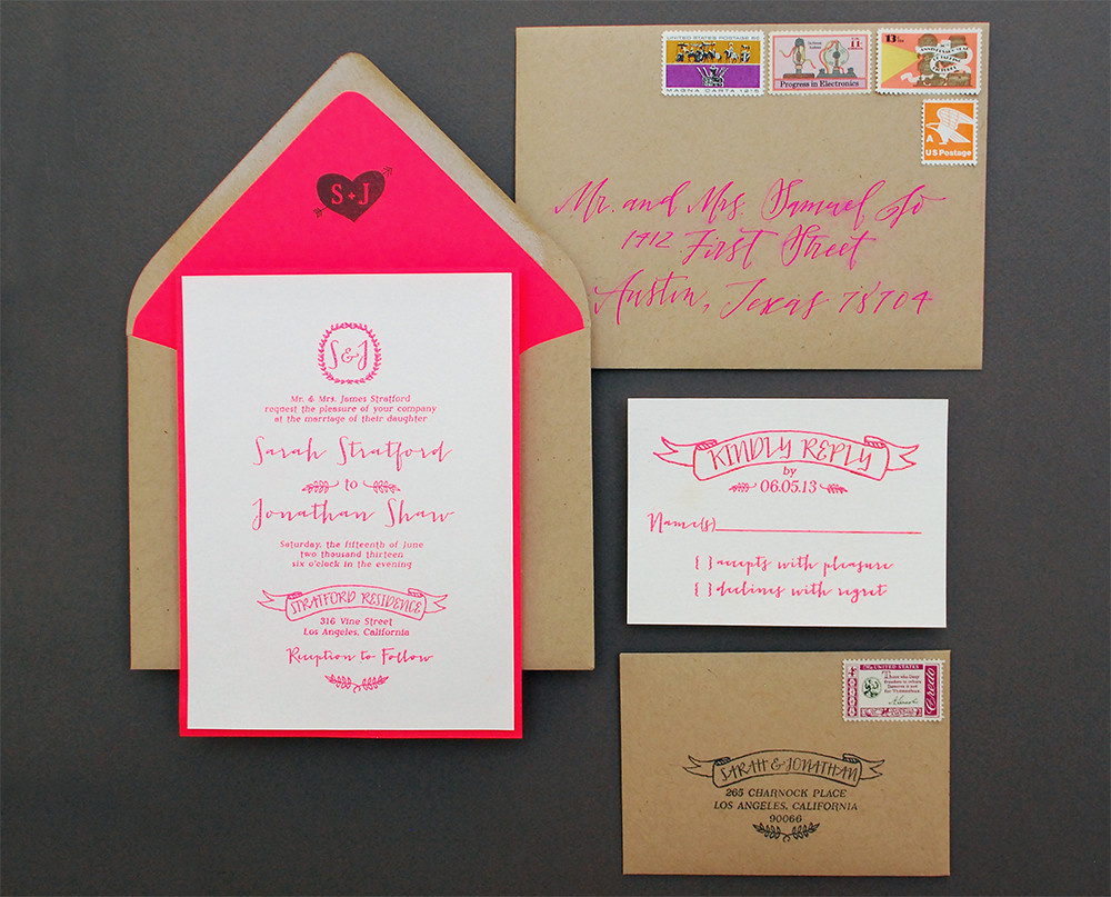 Best ideas about DIY Wedding Invitation . Save or Pin DIY Tutorial Neon Kraft Paper Wedding Invitations Now.