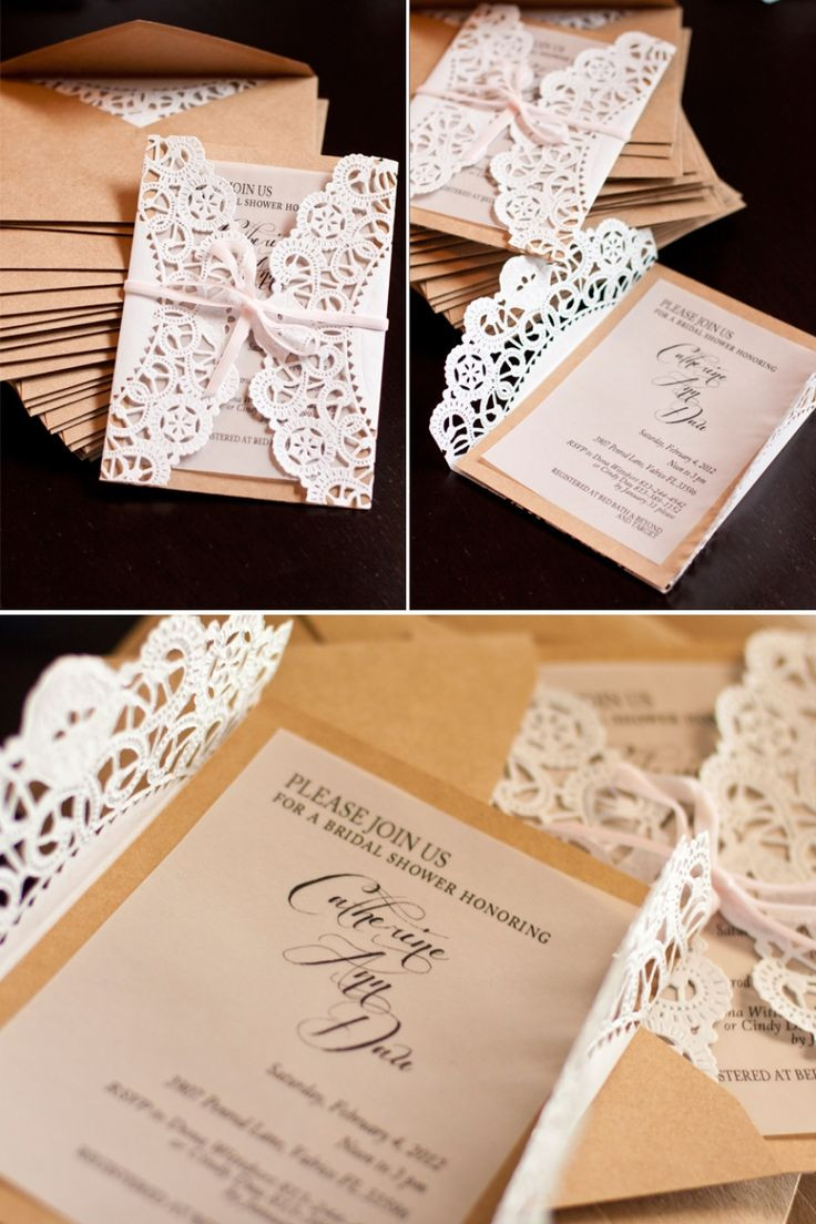 Best ideas about DIY Wedding Invitation . Save or Pin Lace Doily DIY Wedding Invitations Mrs Fancee Now.
