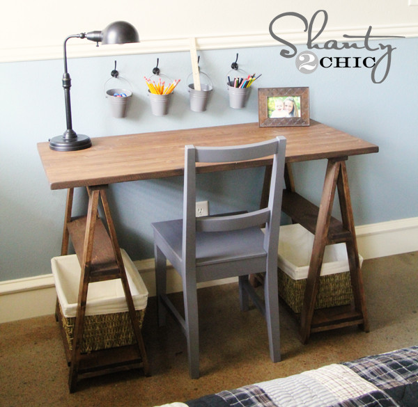 Best ideas about DIY Wood Desks . Save or Pin How To Build A Sawhorse Desk For Both Rustic And Modern Now.