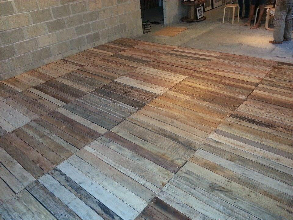 Best ideas about DIY Wood Floor . Save or Pin Recycled Pallet Flooring DIY Now.