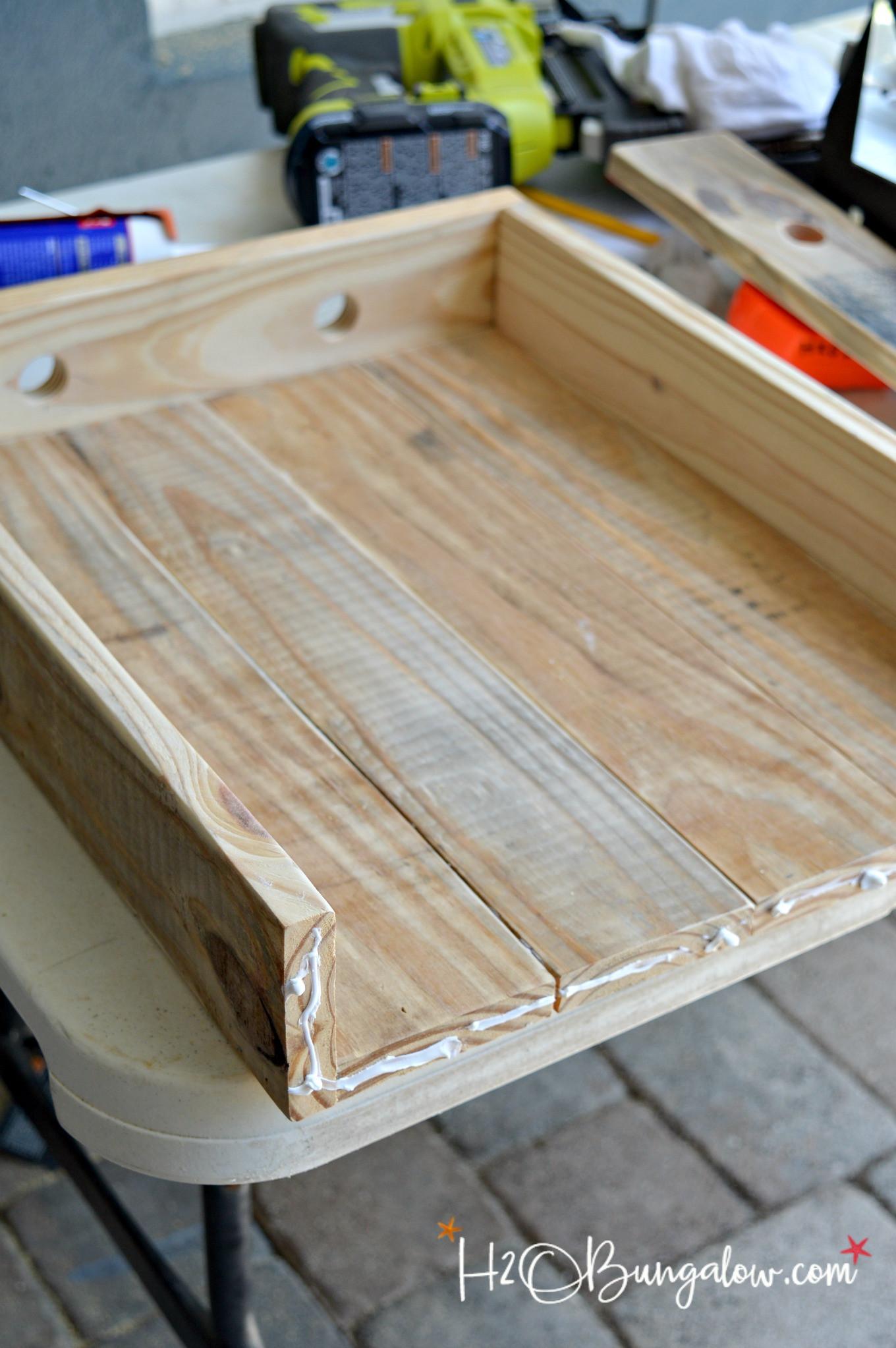 DIY Wood Serving Tray  DIY Coastal Rope Handle Tray Tutorial H20Bungalow