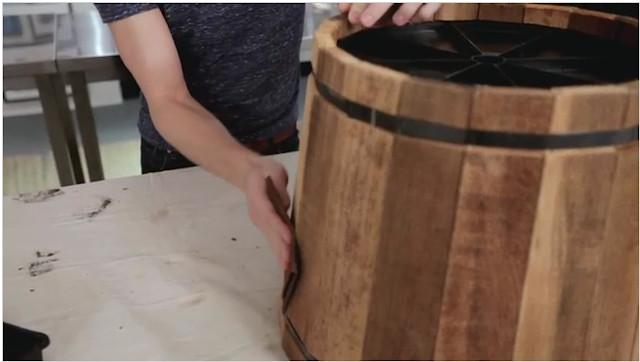 DIY Wooden Barrel  Eight Hundred Sq Ft Wooden Barrel Planter Side Table DIY