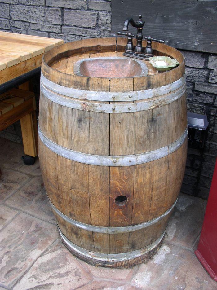 DIY Wooden Barrel  DIY Wine Barrel Outdoor Sink