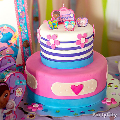 Doc Mcstuffins Birthday Cake  Doc McStuffins Fondant Cake How To Party City