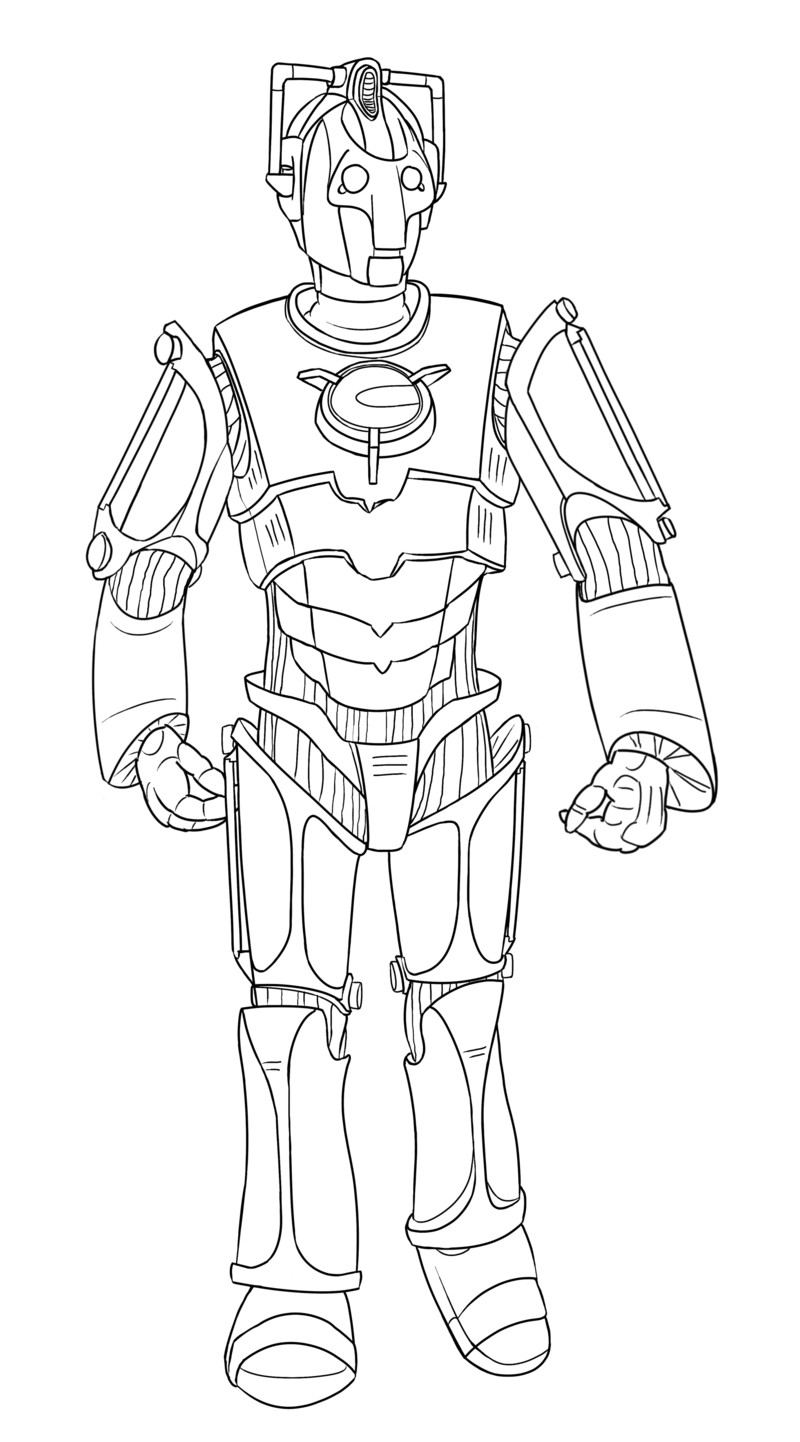 Doctor Who Coloring Book Pages  Colour Your Own Cyberman by jinkies36 on DeviantArt