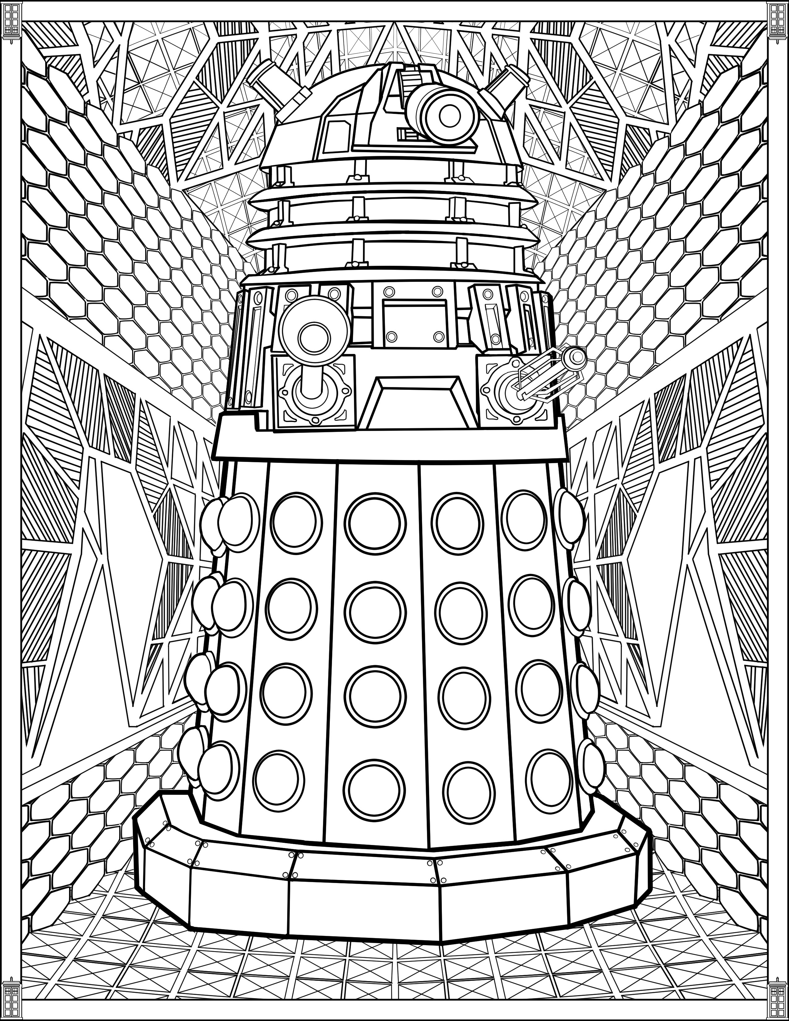 Doctor Who Coloring Book Pages  Doctor Who Wibbly Wobbly Timey Wimey Coloring Pages