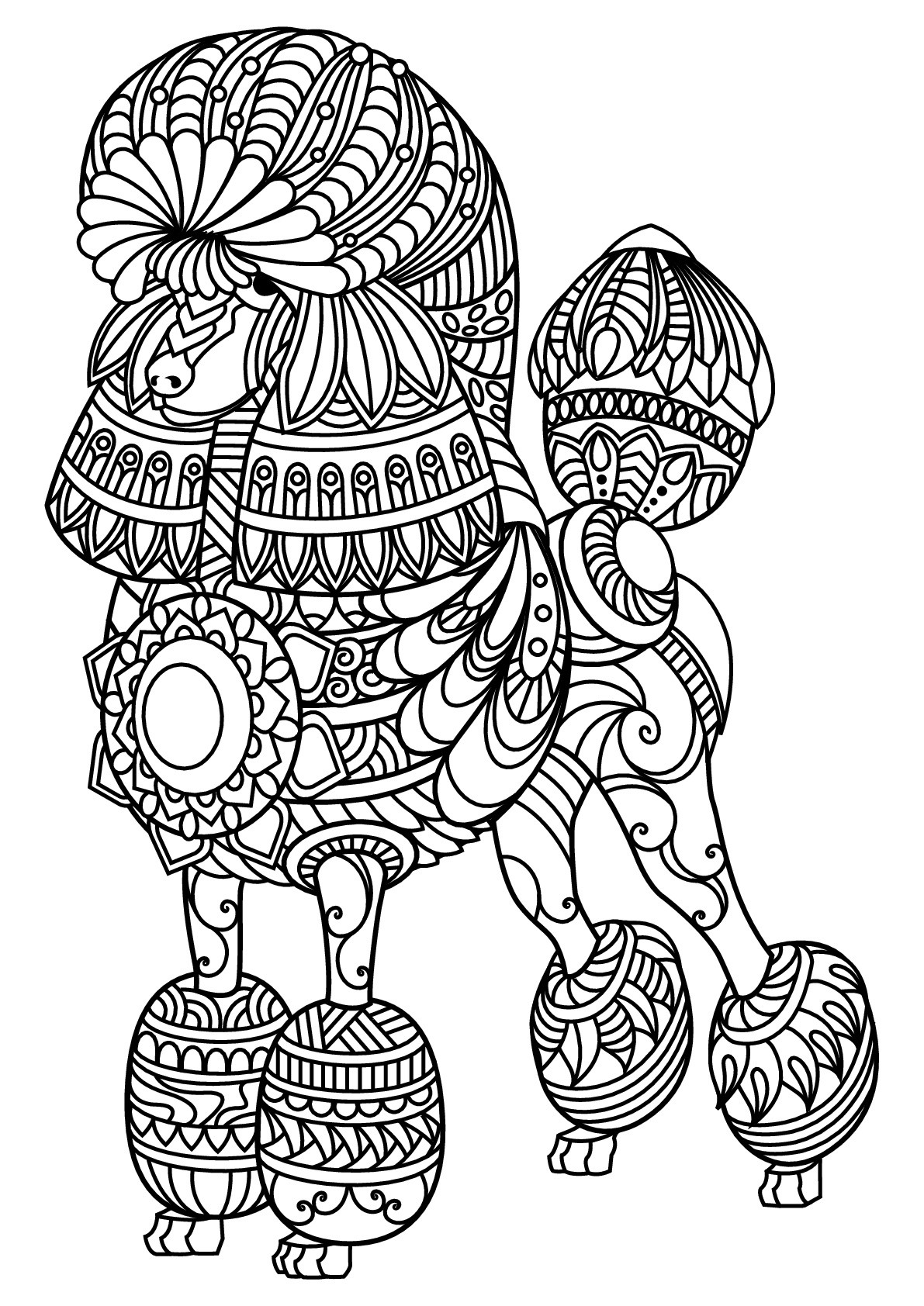 Best ideas about Dogs Coloring Pages For Adults . Save or Pin Free book dog poodle Dogs Adult Coloring Pages Now.