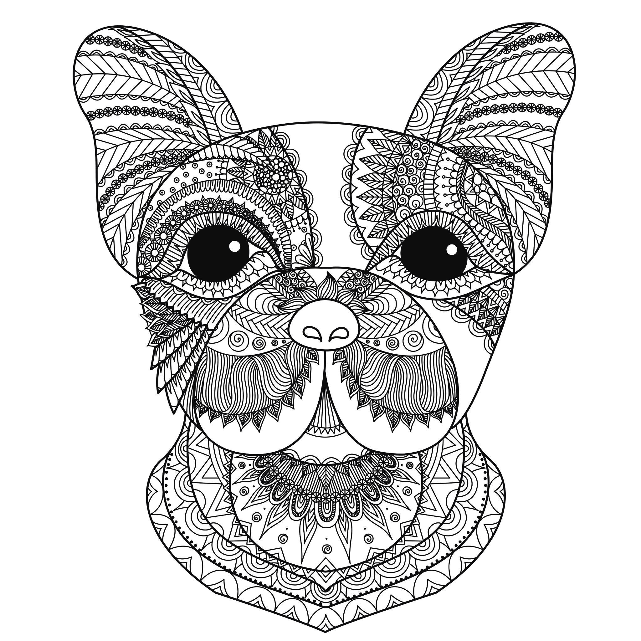 Best ideas about Dogs Coloring Pages For Adults . Save or Pin Dog head bimdeedee Dogs Adult Coloring Pages Now.