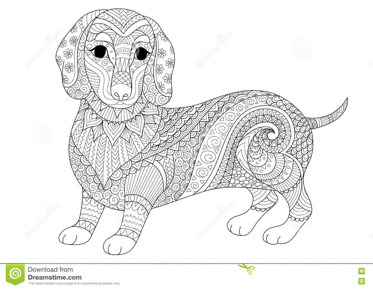 Best ideas about Dogs Coloring Pages For Adults . Save or Pin Zendoodle Design Dachshund Puppy For Adult Coloring Now.