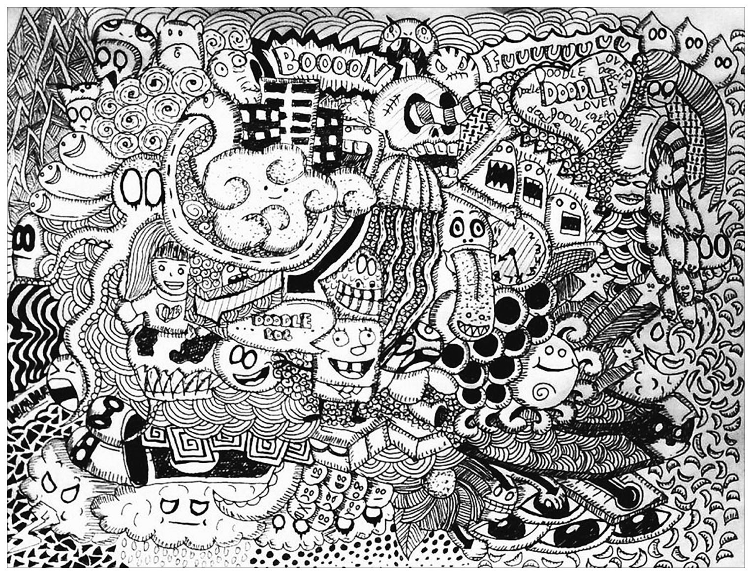 Doodle Art Coloring Pages  Doodle lover Bon Janapin Coloring Pages for Adults